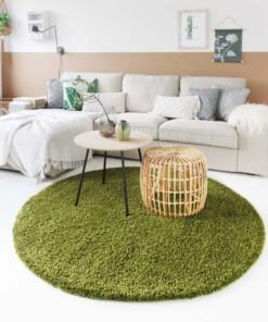Hoogpolig vloerkleed shaggy Trend effen rond - groen