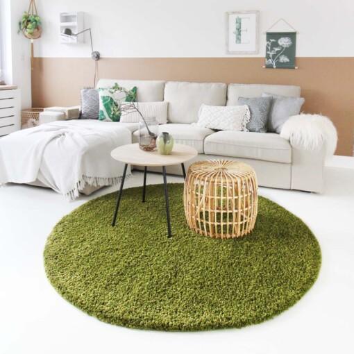 Hoogpolig vloerkleed groen rond voorkant 2