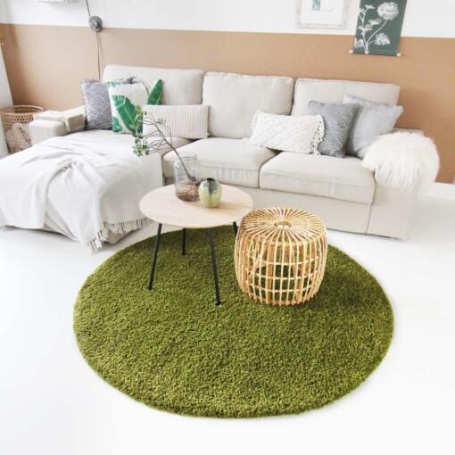 Hoogpolig vloerkleed groen rond voorkant