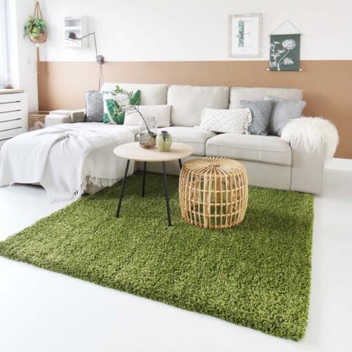 Hoogpolig vloerkleed groen vierkant voorkant 2