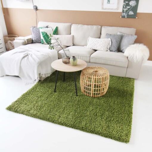 Hoogpolig vloerkleed groen vierkant voorkant