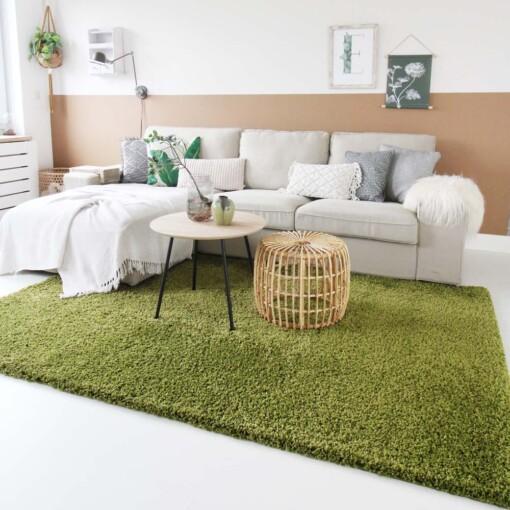 Hoogpolig vloerkleed groen voorkant 2
