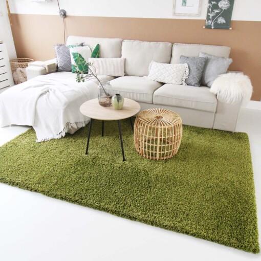 Hoogpolig vloerkleed groen voorkant