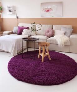 Hoogpolig vloerkleed shaggy Trend effen rond - paars