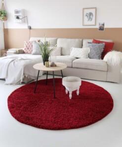Hoogpolig vloerkleed shaggy Trend effen rond - rood