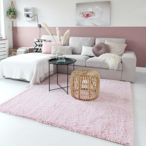 Hoogpolig vloerkleed roze vierkant voorkant 2