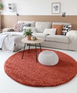 Hoogpolig vloerkleed shaggy Trend effen rond - terracotta
