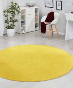 Modern effen vloerkleed rond Fancy - geel - sfeer, thumbnail