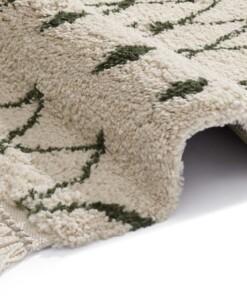 Hoogpolig vloerkleed Calla - crème/groen - close up