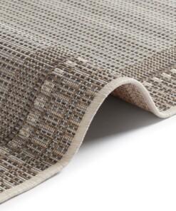 Binnen & Buiten vloerkleed vlakweef Ocean - grijs/taupe - close up