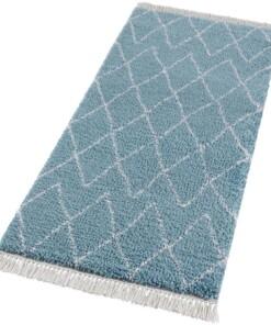 Loper hoogpolig Jade - blauw/crème - overzicht schuin, thumbnail