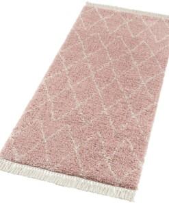 Loper hoogpolig Jade - roze/crème - overzicht schuin, thumbnail