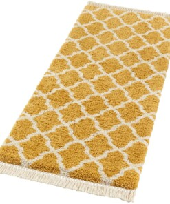 Loper hoogpolig Pearl - goud/crème - overzicht schuin, thumbnail