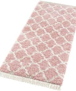 Loper hoogpolig Pearl - roze/crème - overzicht schuin, thumbnail