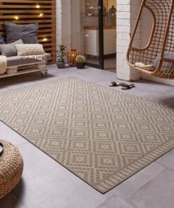 Design binnen & buiten vloerkleed ruiten Breeze - taupe - sfeer, thumbnail