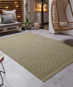 Design binnen & buiten vloerkleed ruiten Breeze - groen - sfeer, thumbnail