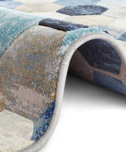 Design vloerkleed Manosque Elle Decoration - blauw/crème - close up