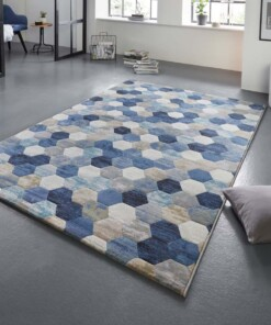 Design vloerkleed Manosque Elle Decor - blauw/crème - sfeer, thumbnail