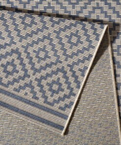 Loper binnen & buiten ruiten Raute - blauw/crème - close up