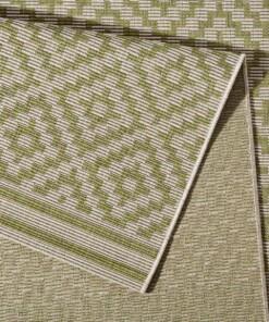 Loper binnen & buiten ruiten Raute - groen/crème - close up