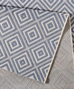 Balkonkleed ruiten Karo - blauw/crème - close up