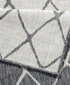 Binnen & buiten vloerkleed ruiten Malaga - grijs/crème - close up