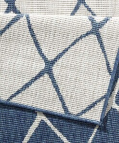 Binnen & buiten vloerkleed ruiten Malaga - blauw/crème - close up