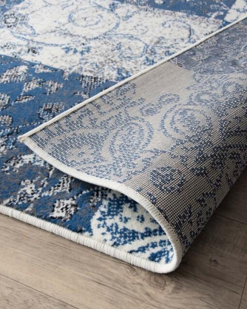 Patchwork vloerkleed factum blauw-creme close-up 2