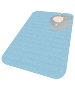 Vloerkleed olifant Niños - blauw - Wasbaar 30°C - overzicht schuin, thumbnail