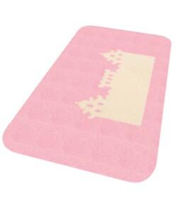 Vloerkleed kasteel Niños - roze - Wasbaar 30°C - overzicht schuin, thumbnail