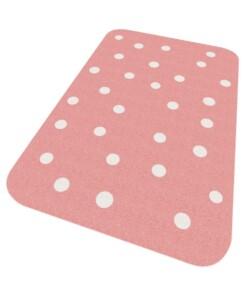 Vloerkleed stippen Niños - roze - Wasbaar 30°C - overzicht schuin, thumbnail
