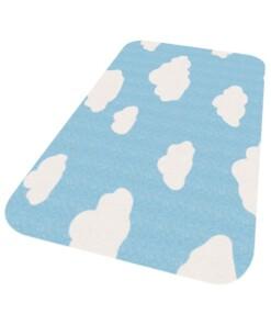 Vloerkleed wolken Niños - blauw - Wasbaar 30°C - overzicht schuin, thumbnail