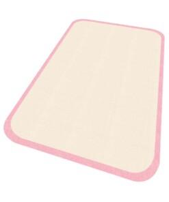 Vloerkleed effen Niños - crème/roze - Wasbaar 30°C - overzicht schuin, thumbnail