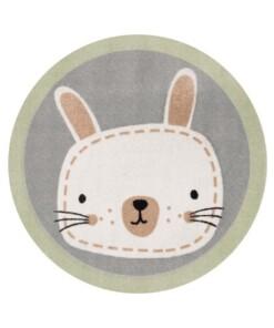Vloerkleed konijn Niños - groen/grijs - Wasbaar 30°C - overzicht boven, thumbnail