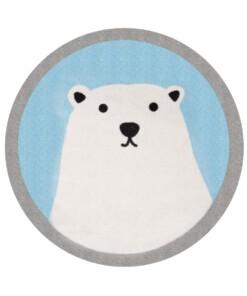 Vloerkleed ijsbeer Niños - blauw - Wasbaar 30°C - overzicht boven, thumbnail