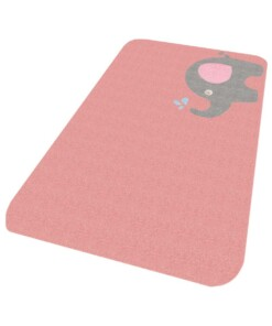 Vloerkleed olifant Niños - roze - Wasbaar 30°C - overzicht schuin, thumbnail