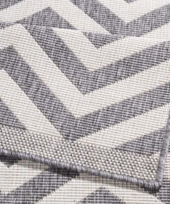 Binnen & buiten vloerkleed zigzag Palma - grijs/crème - close up