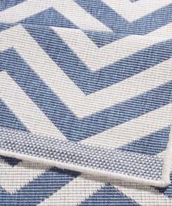 Loper binnen & buiten zigzag Palma - blauw/crème - close up