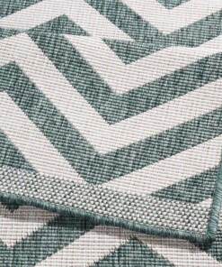 Loper binnen & buiten zigzag Palma - groen/crème - close up