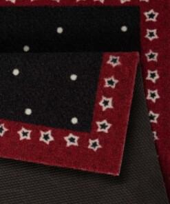 Deurmat kerst teddybeer - rood/zwart - wasbaar 30°C - close up