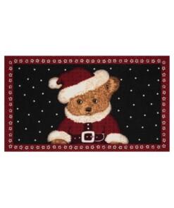 Deurmat kerst teddybeer - rood/zwart - wasbaar 30°C - overzicht boven, thumbnail