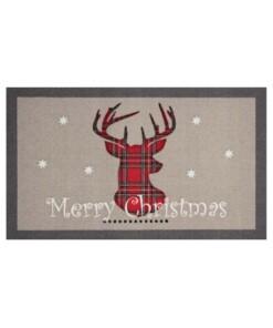 """Deurmat kerst """"Merry Christmas""""  - grijs/rood - wasbaar 30°C - overzicht boven, thumbnail"""