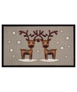 Deurmat kerst rendieren - grijs/bruin - wasbaar 30°C - overzicht boven, thumbnail
