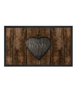 """Deurmat """"Shabby Home"""" - bruin/grijs- wasbaar 30°C - overzicht boven, thumbnail"""