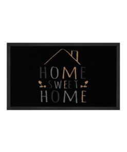 "Deurmat ""Home Sweet Home"" - zwart/crème - wasbaar 30°C - overzicht boven, thumbnail"