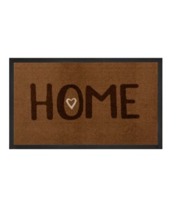 "Deurmat ""Lovely Home"" – bruin – wasbaar 30°C - overzicht boven, thumbnail"