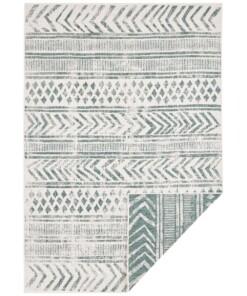 Binnen & Buiten vloerkleed Biri - groen/crème - overzicht boven