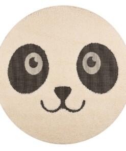 Kinderkamer vloerkleed Panda Pete - crème/zwart - overzicht boven