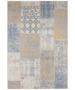 Binnen & buiten vloerkleed patchwork Symi - goud/grijs - overzicht boven