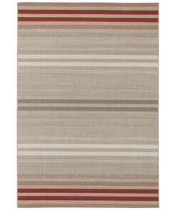 Binnen & buiten vloerkleed strepen Paros - rood/grijs - overzicht boven